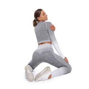 Комплекты для йоги, женская спортивная одежда, спортивная одежда для женщин, комплекты для фитнеса, 2 предмета, с длинным рукавом, бесшовные ...