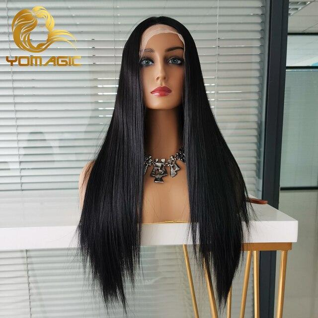 Yomagic-pelucas con encaje frontal para mujer, pelo sintético de Color negro, minimechones, liso, sin pegamento, prearrancado 4