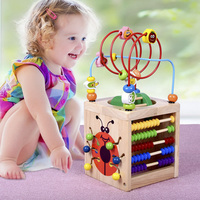Kids Montessori Wooden Toys Activity Cube 6 in 1 Baby Bead Maze Toy Learning Toys For Children Educational Wooden Math Toys Gift