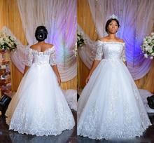 Off the Shoulder Wedding Dress Lace Appliques Half Sleeves A-Line Long Dress Bridal Gown Formal Plus Sizes Vestido De Noiva 2020 lace off shoulder half sleeves womens dress