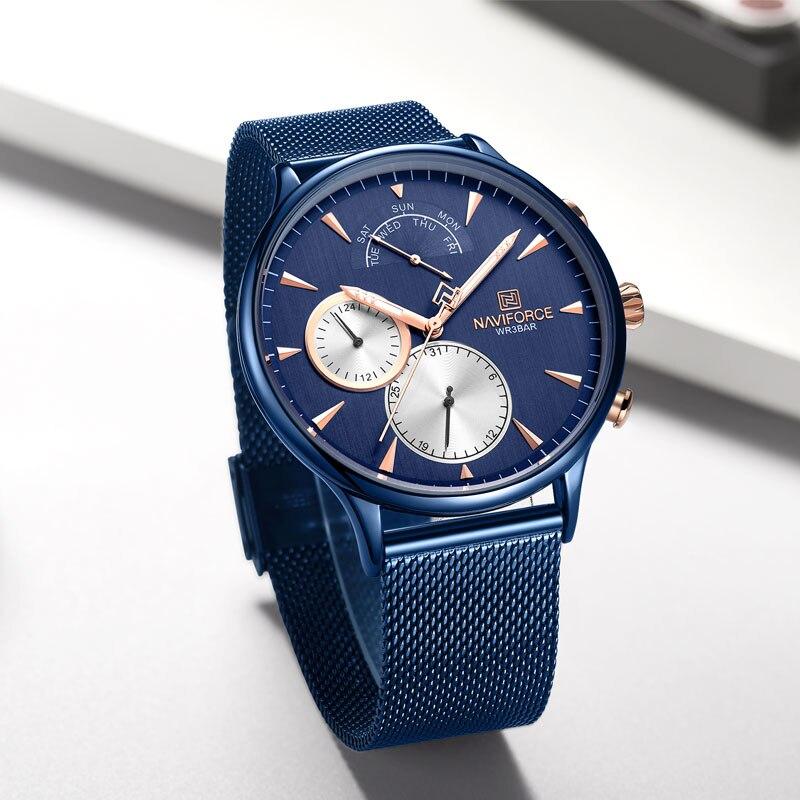 NAVIFORCE Топ бренд класса люкс мужские часы из нержавеющей стали мужские s часы кварцевые спортивные водонепроницаемые мужские наручные часы Relogio Masculino - 3