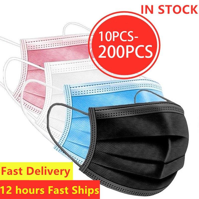 10/20/30/50/100/200pcsMask черного цвета в наличии одноразовые маски нетканые маски для лица 3 слоя слоев фильтр дышащие взрослые рот маска