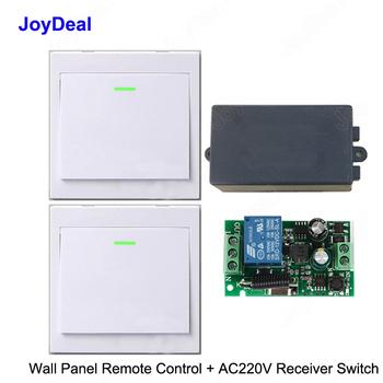 433Mhz bezprzewodowy rf pilot zdalnego sterowania przełącznik AC 110V 220V lampa led żarówki bezprzewodowe przełączniki korytarz pokoju domu ściany przełącznik do panelu tanie i dobre opinie joydeal ROHS AC 110V 220V 1CH 10A Wireless Remote Control Switch Receiver Diy Kits 1 Year Warranty RF Remote Control Touch Panel Sensor Wall Light Switch