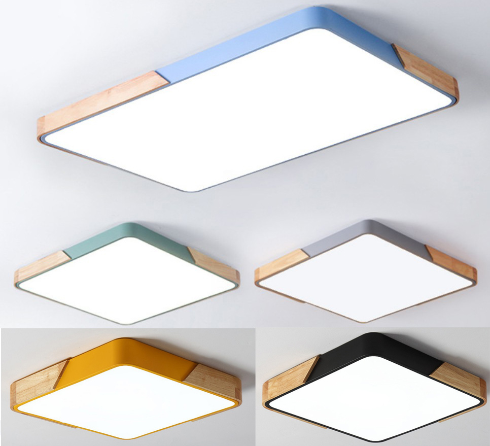 Nordic Rectangle Led Ceiling Lights Macaroon Color Living Room Wood Dimmable Square Led Ceiling Lamp Bedroom Light Fixtures D27