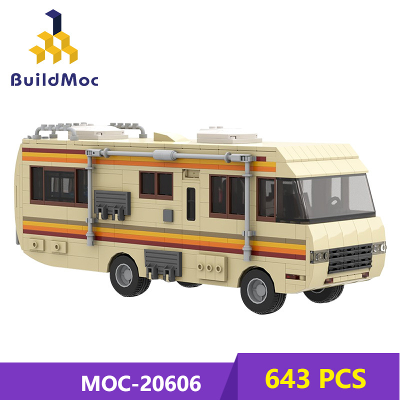 MOC Breakingalss Car American Drama Classic Walter White Pinkman Cooking Lab RV City High-Tech ideas Building Block Toy Kid Gift