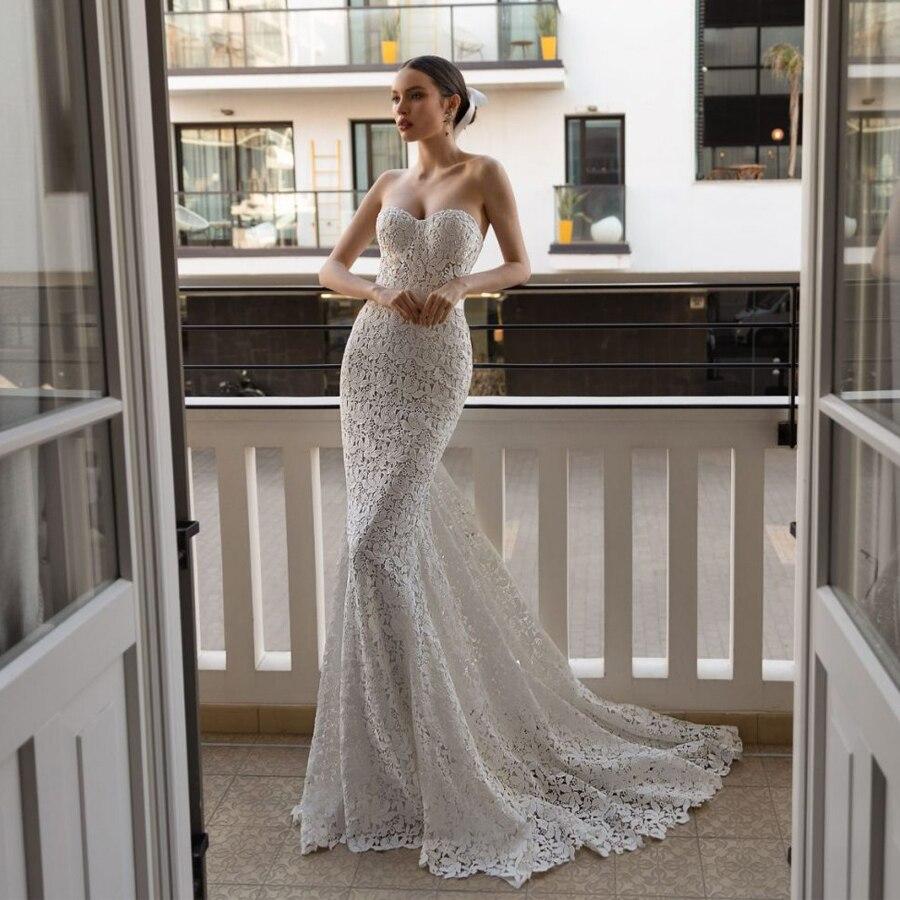 Strapless Matte Lace Mermaid Slim Wedding Dress With Removable Jacket Bridal Gown Vestidos De Fiesta Largos Elegantes