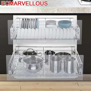 Drawer Dish-Drainer Cuisine-Organizer Kitchen Cabinet Storage-Basket Cupboard Stainless-Steel