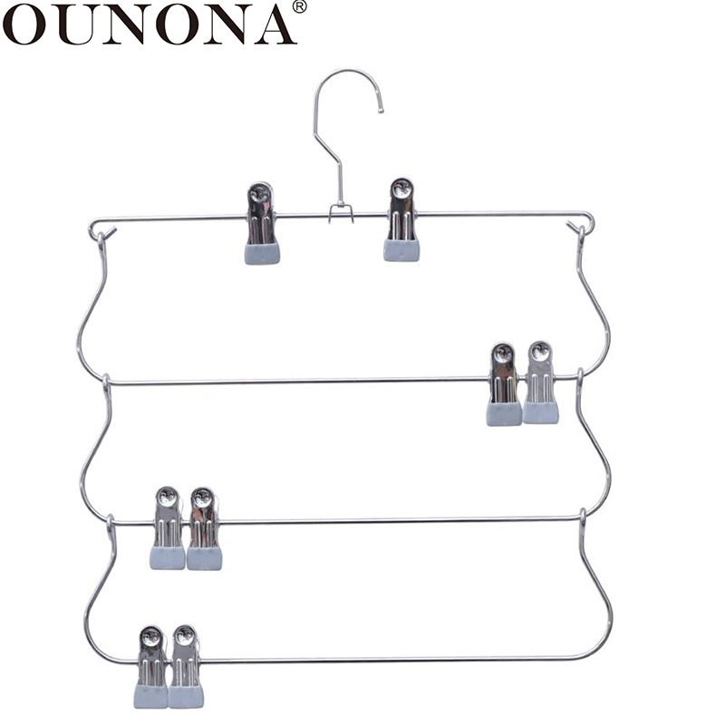 OUNONA Clothes Pants Skirt Drying Rack Hangers Multiple Layers Jeans Trousers Hangers Organizer Scarves Hanging Rack With Clips