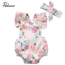 Pudcoco 0-24M Baby Girls Floral Buttons Decor Romper Summer Infant Toddler Girl Short Ruffle Sleeve Clothes Sunsuit Set