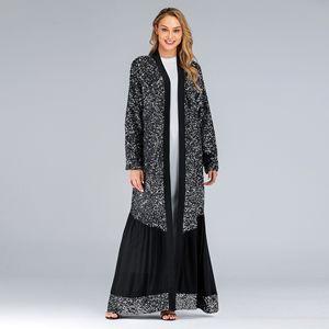 Caftan Moroccan Kaftan Dubai Turkish Islam Clothing For Women Black Sequin Open Abaya Kimono Muslim Dress Abayas Hijab Dress