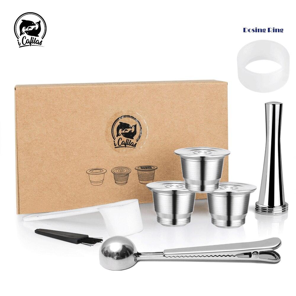 كبسولات قهوة قابلة لإعادة الاستخدام لنسبرسو ، فولاذ مقاوم للصدأ ، فلاتر قابلة لإعادة الملء ، فنجان إسبريسو ، مناسبة لـ Inissia و Pixie ، آلة صنع القهوة|Coffee Filters| - AliExpress