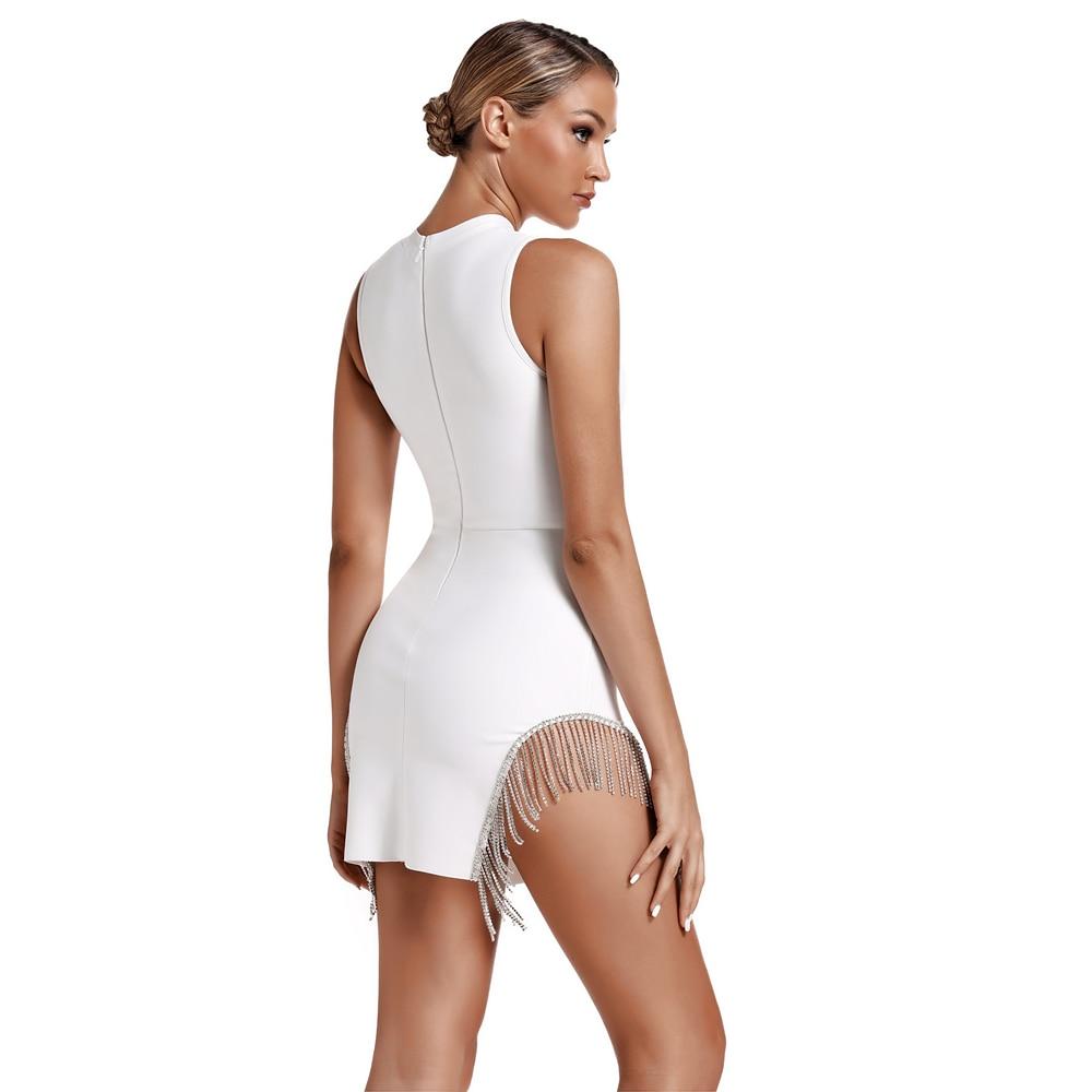 Nadler 2020 Ocstrade 新着夏クリスタルトリム包帯パーティードレスセクシーな白包帯ドレス女性ノースリーブボディコンミニドレス