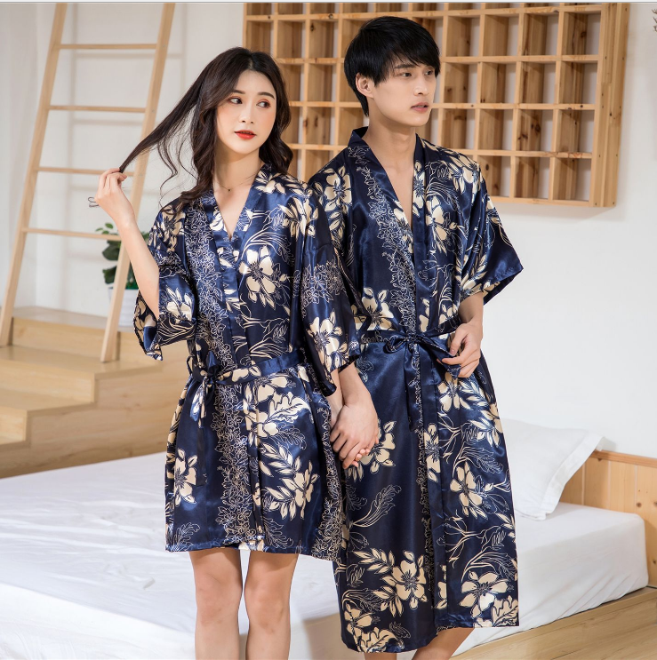 Couples Home Dressing Gown Lovers Light-Robe Lace Gown Kimono Cardigan Dress Bathrobe For Men Women Navy Red Sleeve Wear