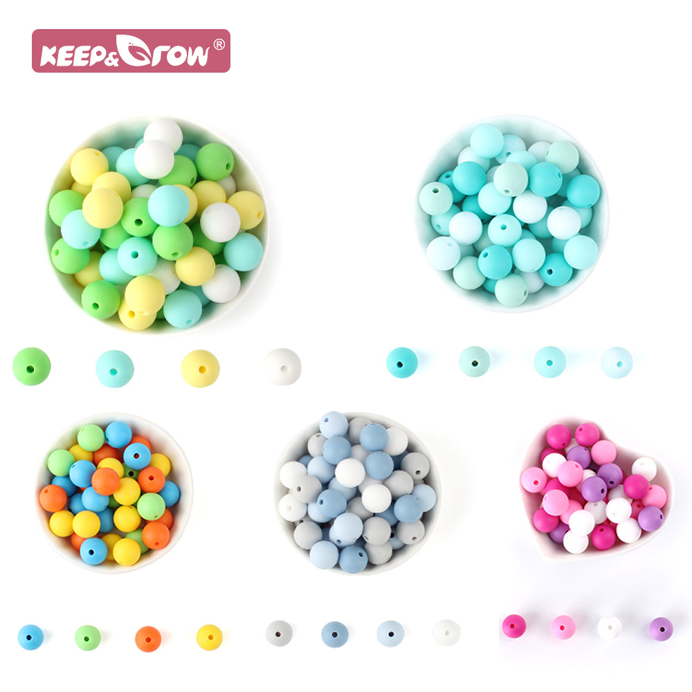 Keep&Grow Baby Silicone 12MM Round Beads 20pcs Baby Teethers Toys Oral Care Products Food Grade Silicone DIY Pacifier Chains