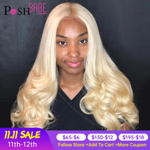 8   28 inch 613 Honey Blonde Color Lace Front Human Hair Wig Remy Brazilian Body Wave Hair 1B 613 Ombre Lace Wig for Black Women