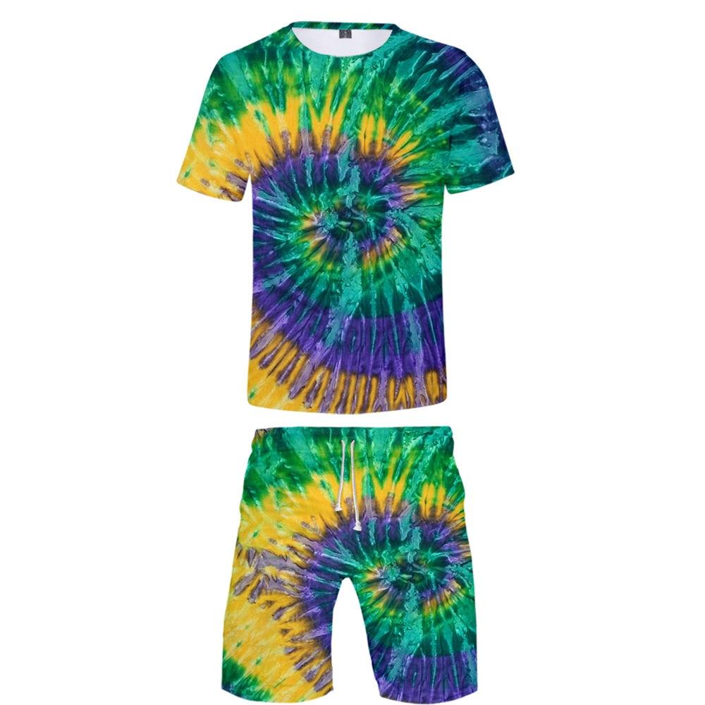 Men's Sets Tie Dye Print Men Women 2 Piece Outfit Sport Set Short Sleeve Tshirt + Shorts Summer Leisure Sets High Quality