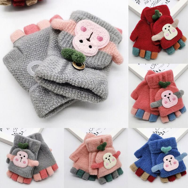 Unisex Toddler Kids Baby Gilr Boys Winter Warm Thick Fur Glovers Knitt Mitterns