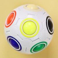 Arcoíris-Bolsa de pelota de fútbol esférica para niños, pelota mágica, rompecabezas de pelota antiestrés