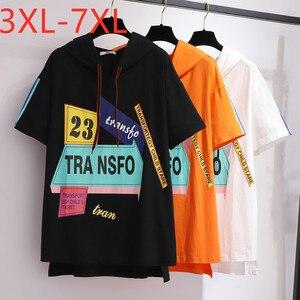 Женская хлопковая Футболка большого размера плюс, свободная Черно-белая футболка с коротким рукавом и принтом, 3XL, 4XL, 5XL, 6XL, 7XL, 2020