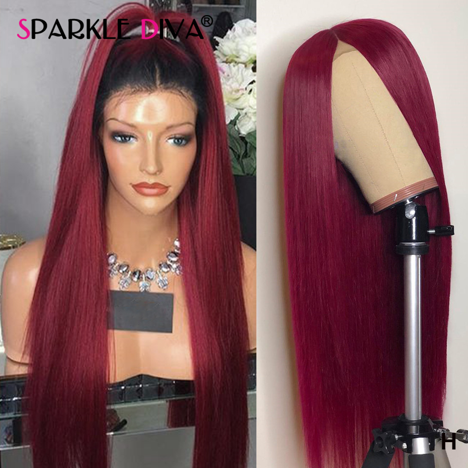13*4 Glueless Lace Front Human Hair Wigs Pre Plucked Brazilian Straight Human Hair Wigs #99J#T1B/99J Remy 150% Lace Front Wig