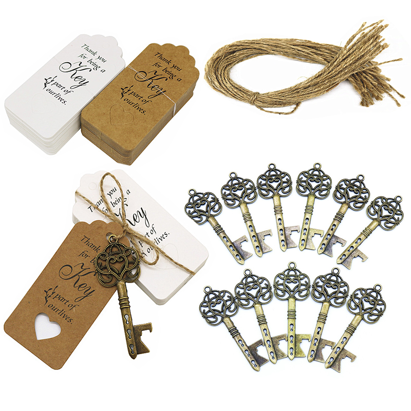 Antique Bronze 100 Sets Vintage Key Bottle Openers Wedding Favor Souvenir Gift Set Pillow Shape Candy Gift Box Escort Thanks Tag Sticker Hemp Rope