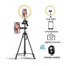 Tripé de câmera do telefone extensível com controle remoto selfie anel luz com tripode para vídeo ao vivo com suporte do telefone