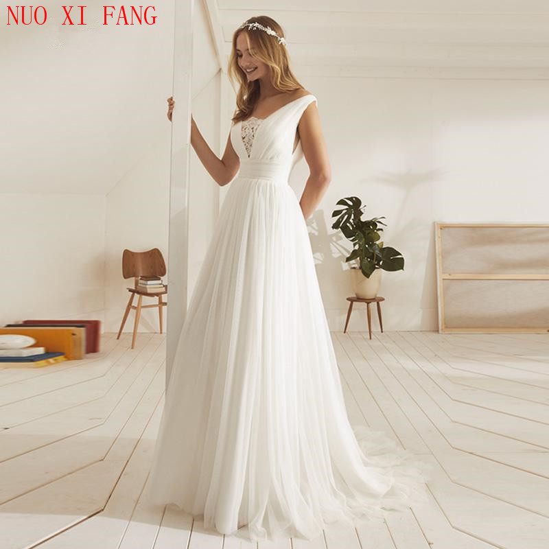 2020 Sexy Open Back Beach Wedding Dresses Appliques Tulle Princess Boho Wedding Gowns Pleats Bridal Dress Vestido De Noiva