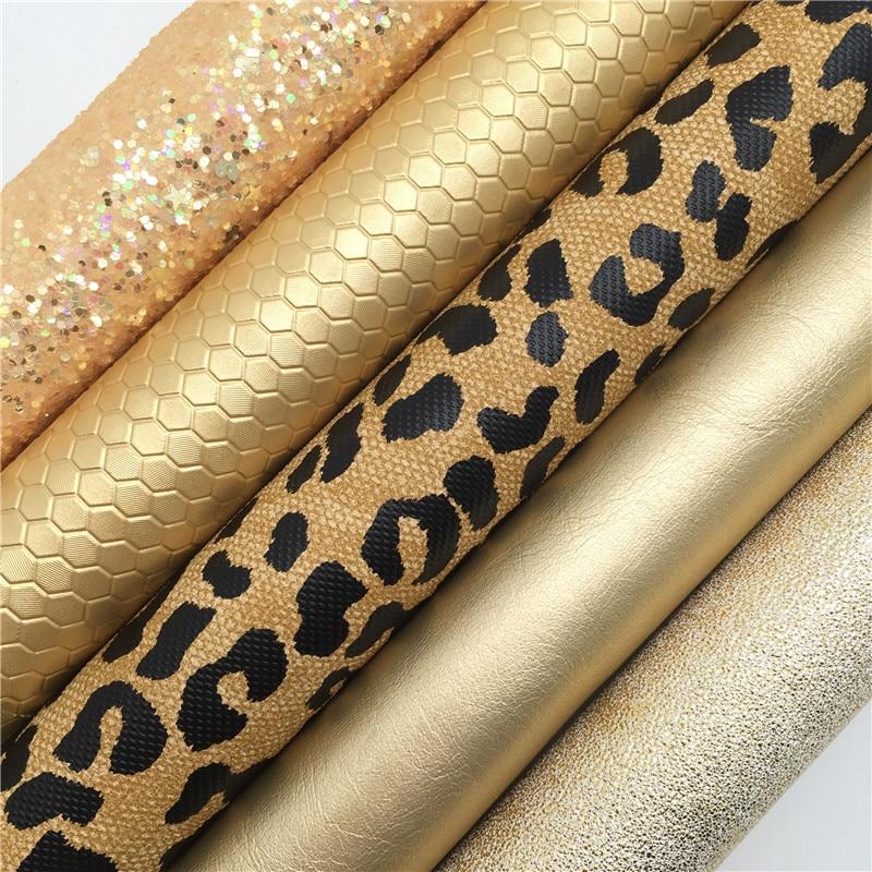 Ткань с золотыми блестками, ткань из искусственной кожи с леопардовым принтом, простыни из синтетической кожи для банта A4 8x11 дюймов, мерцани...
