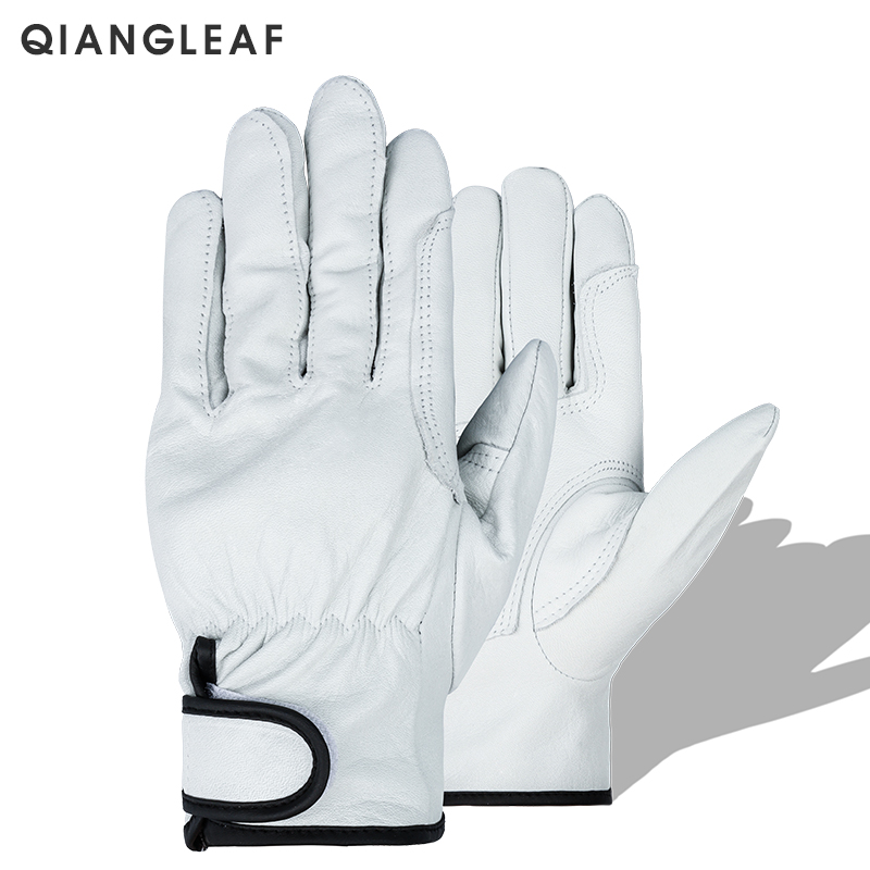 QIANGLEAF Brand Protection Glove Work Safety Gloves Mechanic Working Ultrathin Leather Safety Wholesale Free Shipping 527WNP
