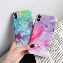 ottwn Stone Marble Phone Case For iPhone X XS XR Xs Max Texture Pattern Colorful Hard PC Back Cover 6 6s 7 8 Plus