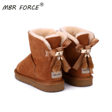 MBR FORCE Cowhide Leather Short plush Fur Lined Women Short Ankle Winter Suede Snow Boots with Bowknots Mink Tassels Warm Shoes