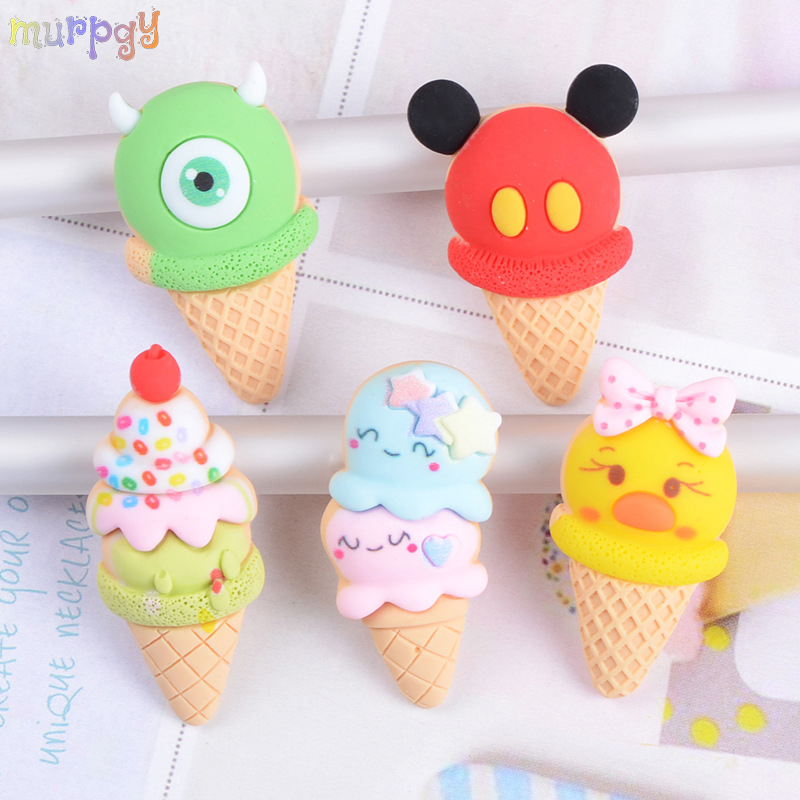 2Pcs Mini Ice Cream Pendant Charms For Slime DIY Phone Decoration Accessories Modeling Lizun Filler Clay Slime Supplies Kids Toy
