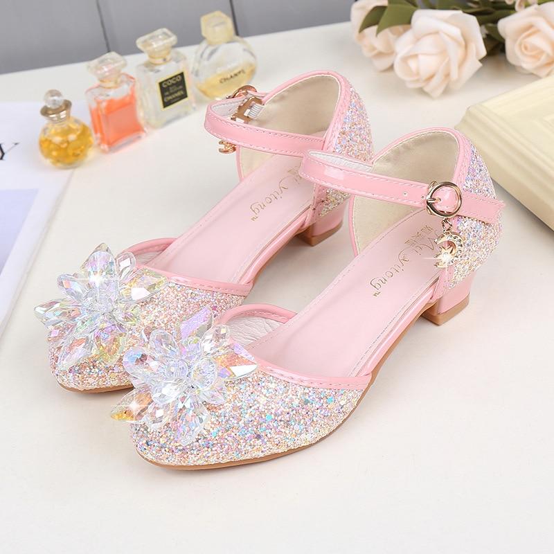 Kids Crystal Shoes Baby Sandal Women High Heel Cinderella Princess Performance Pumps Children Girls Mary Janes Glitter Shoes