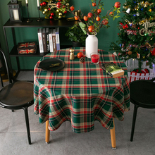 Round Tablecloth Covers Linen Cotton Plaid for And Retro