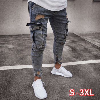 Men Ripped Hole Jeans With Knee Pocket Slim Skinny Jeans Fashion Hiphop Jeans Casual Trousers Male High Qulity Jeans Men Pencil фото