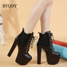 BYQDY Brand Sexy Women Boots High Heel Spring Autumn Lace-up Soft Leather Platform Shoes Wedding Party Short Riding USA