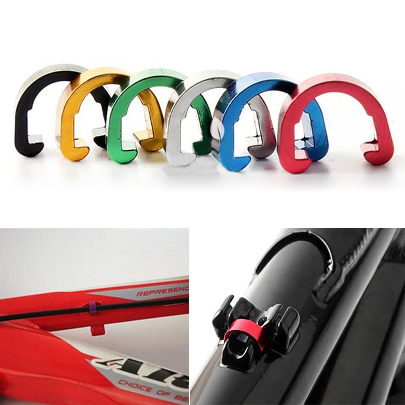 Hot 10pcs Bike Bicycle Cycle MTB C-Clips Buckle Hose Brake Line Gear Cable Housing Guide Brake Deduction Accessory Cables