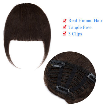 SEGO Straight 3 Clip-in Human Blunt Bangs Sweeping Side Bangs Front Hair Fringes Non-Remy 100% Human Hair  Black Brown Blond 2