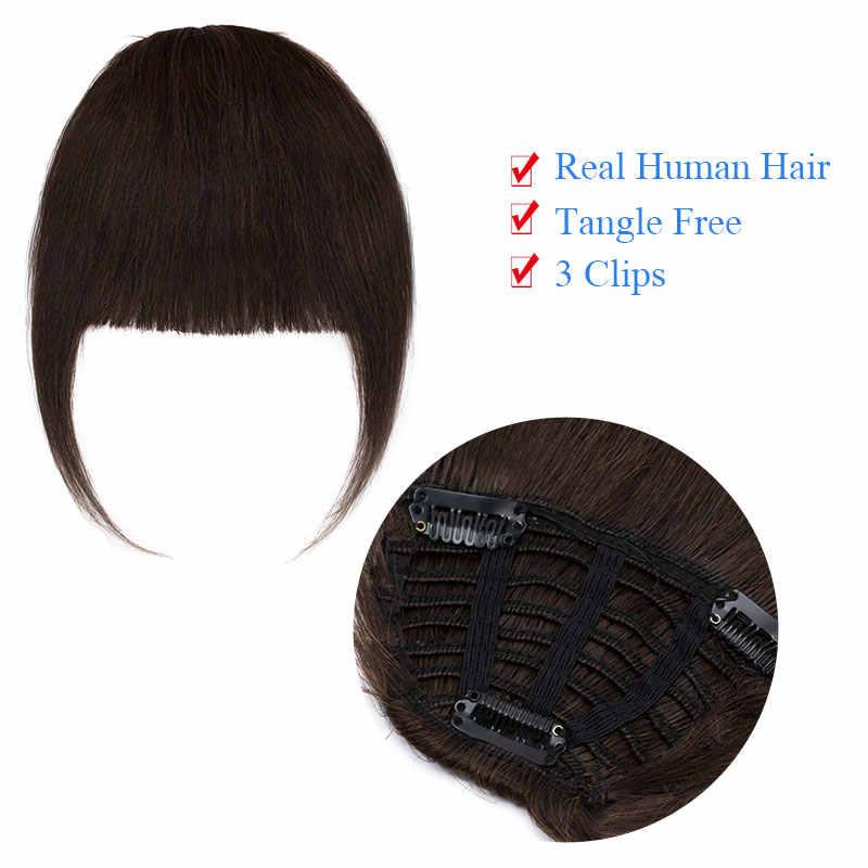 SEGO 25g Ordentlich Vorderen Rand Clip In Menschliches Haar Pony Remy Haar Extensions Kehr Seite Blunt Bang Natürliche Schwarz braun Haarteile