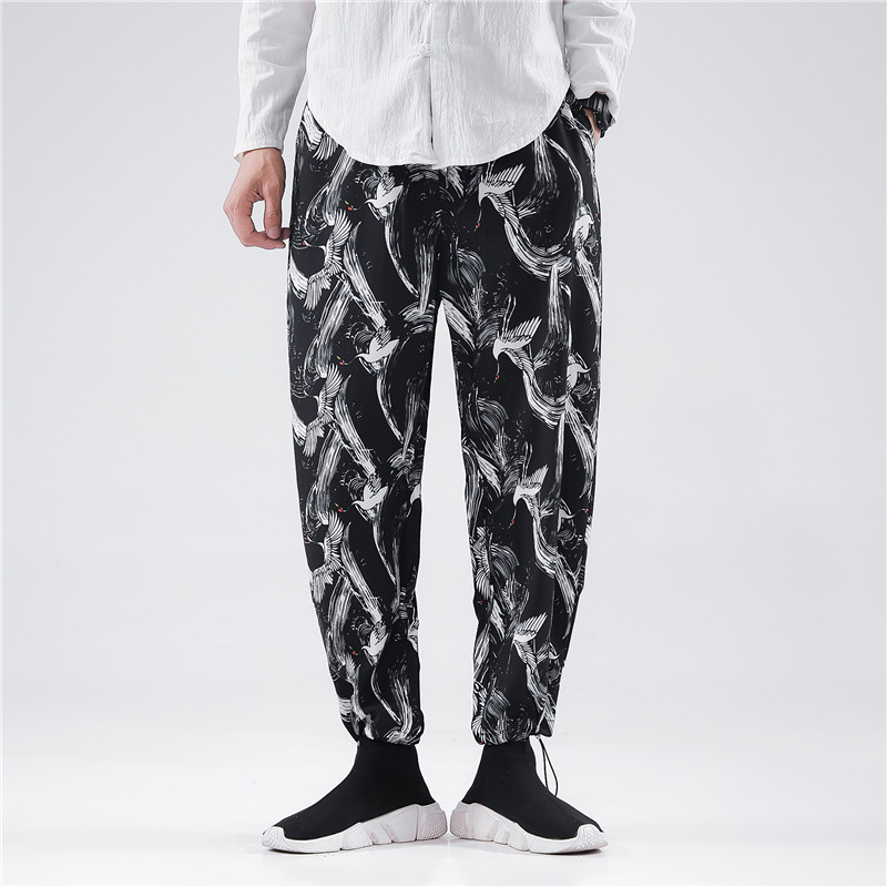 0627 Summer Printed Pencil Harem Pants Thin Casual Vintage Japanese Streetwear Hip Hop Pants Men Loose Elastic Waist Joggers in Harem Pants from Men 39 s Clothing