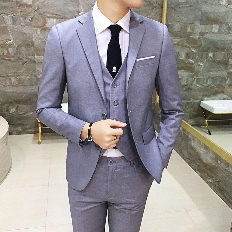 Suit MEN'S Suit Korean-style Slim Fit Business Formal Wear Three-piece Set Solid Color Business Leisure Suit Marriage Groom Form