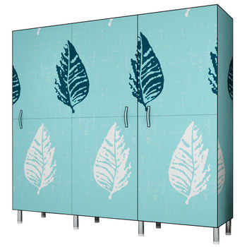 Cloth wardrobe full steel frame Oxford  pipe reinforced thick double clothes storage cabinet household simple economical