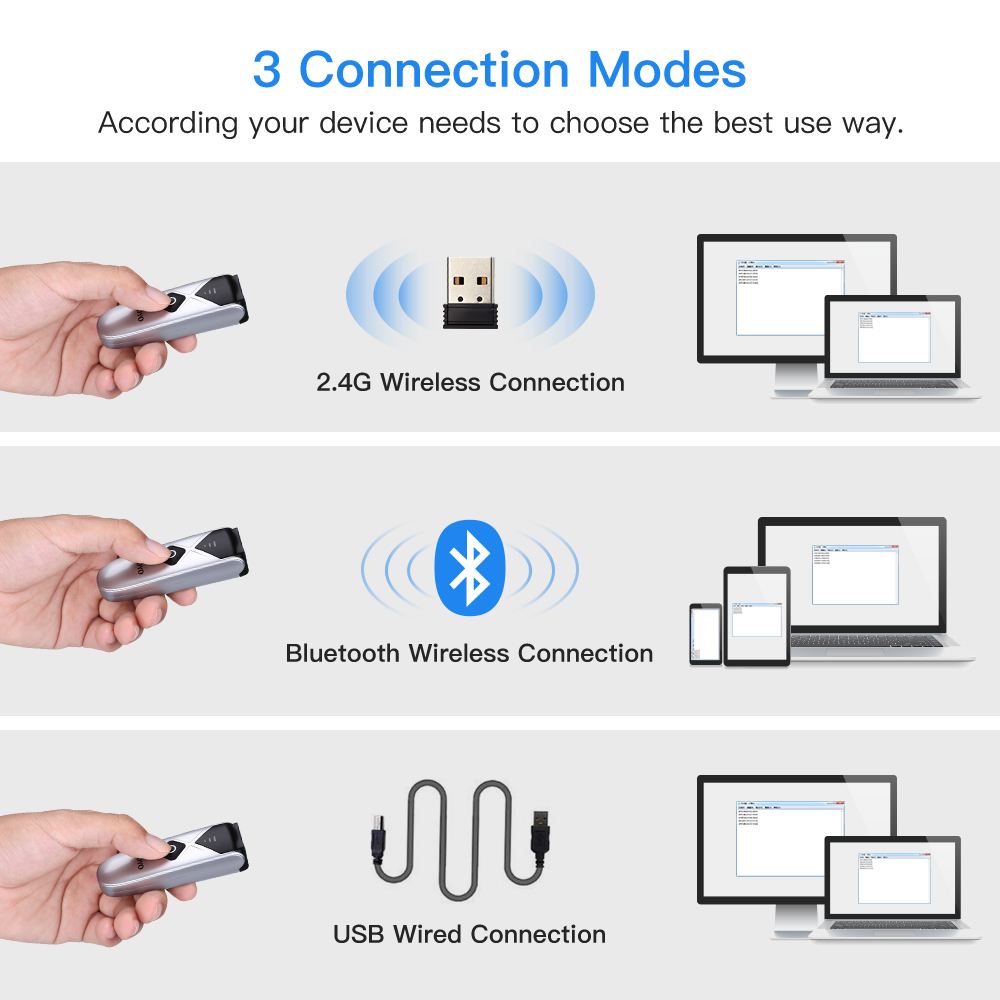 ipad iphone Eyoyo EY-015C CCD Mini Bluetooth Barcode Scanner USB Wired&2.4G Wireless 1D Scan Bar code for iPad iPhone Android Tablets PC (3)