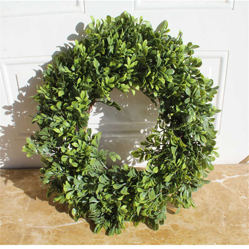 45cm Simulation Green Plant Boxwood Garland Door Decoration Wall Decoration For Home Decoration Artificial Garland
