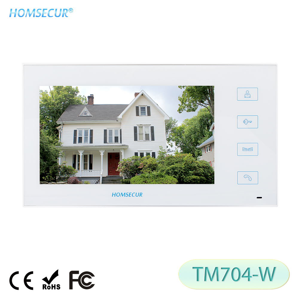 HOMSECUR TM704-W White Indoor Monitor 7inch For HDW Wired Video Door Phone Intercom System
