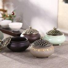 Ceramic incense burner three-legged stove sandalwood antique incense burner alloy mesh cover multi-color optional c hong yizhai chen incense incense burners stove ceramic antique incense burner incense ornaments lotus