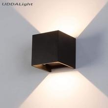 Luz de pared exterior de 12W, lámpara de jardín para casa, dormitorio, mesita de noche, porche, impermeable, Ip65, Cuadrado de aluminio, negro y blanco
