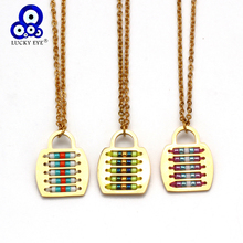 Lucky Eye Miyuki Lock Pendant Necklace Gold Color Stainless Steel Chain Seed Bead Necklace Jewelry Gifts for Women Female EY6398 lucky eye key lock pendant necklace rose gold silver color chain micro pave zircon necklace jewelry gift for women female ey6401