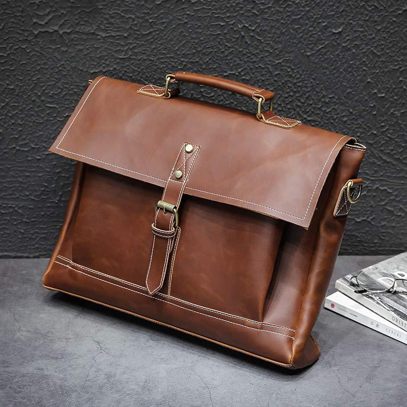Men Oil Leather Bags Fashion Design Business Briefcase Laptop Document Case Fashion Attache Messenger Bag Tote