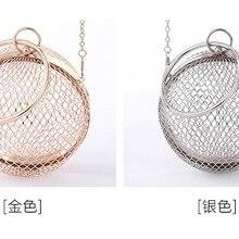 Round Clutch Handbag Ball Shoulder-Bag Crossbody Purse Gold-Cages Wedding Metal Party